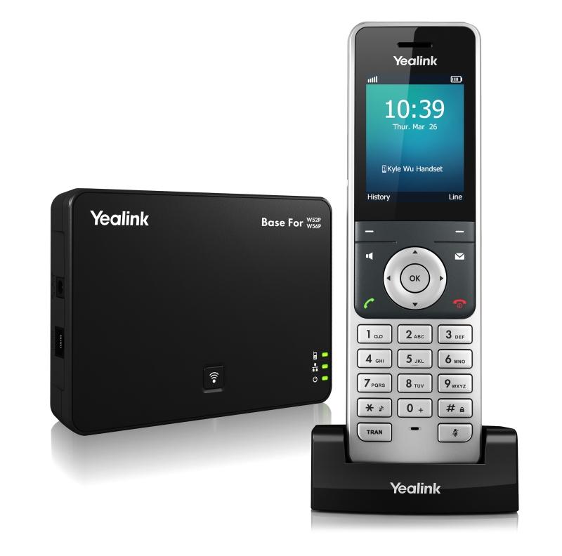 """Yealink W56P IP DECT báze+ručka, PoE, 2,4"""" bar.disp.,až 5 ruček"""