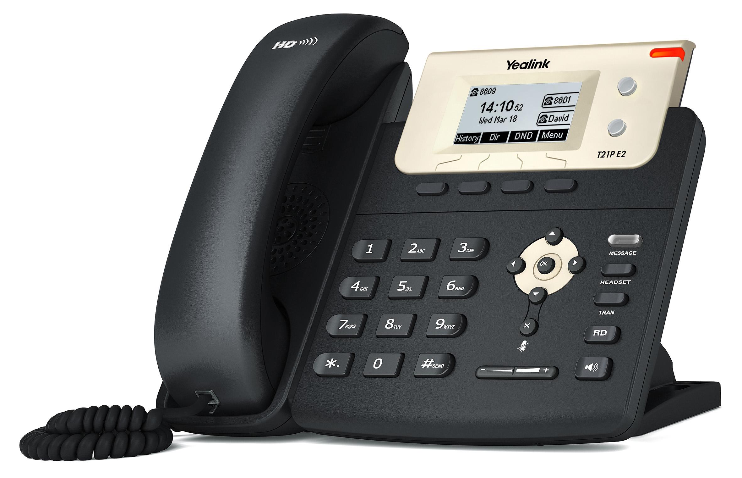 """Yealink SIP-T21P E2 IP tel., 2,3"""" 132x64 pod.LCD,2 pro.tl."""