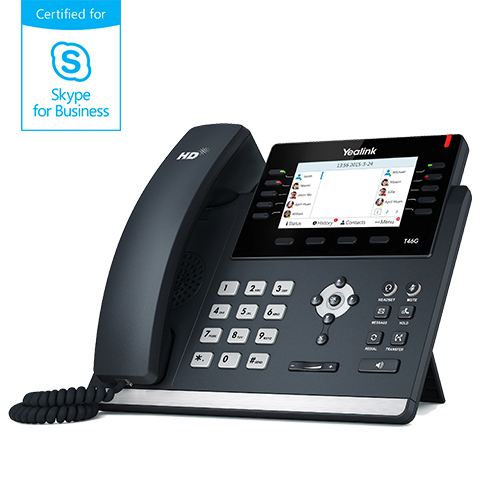"Yealink SIP-T46G IP tel., PoE, 4,3"" bar. LCD, 27 prog.tl., GigE, Skype for Business"