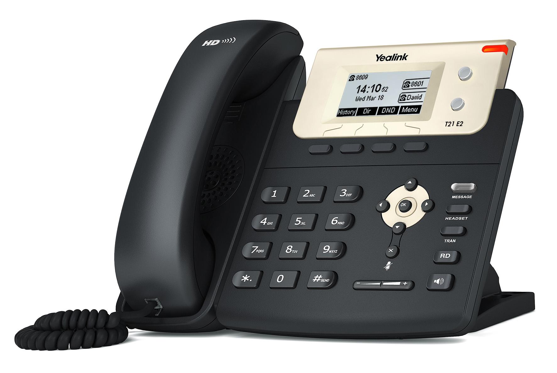 """Yealink SIP-T21 E2 IP tel., 2,3"""" 132x64 pod.LCD,2 pro.tl."""