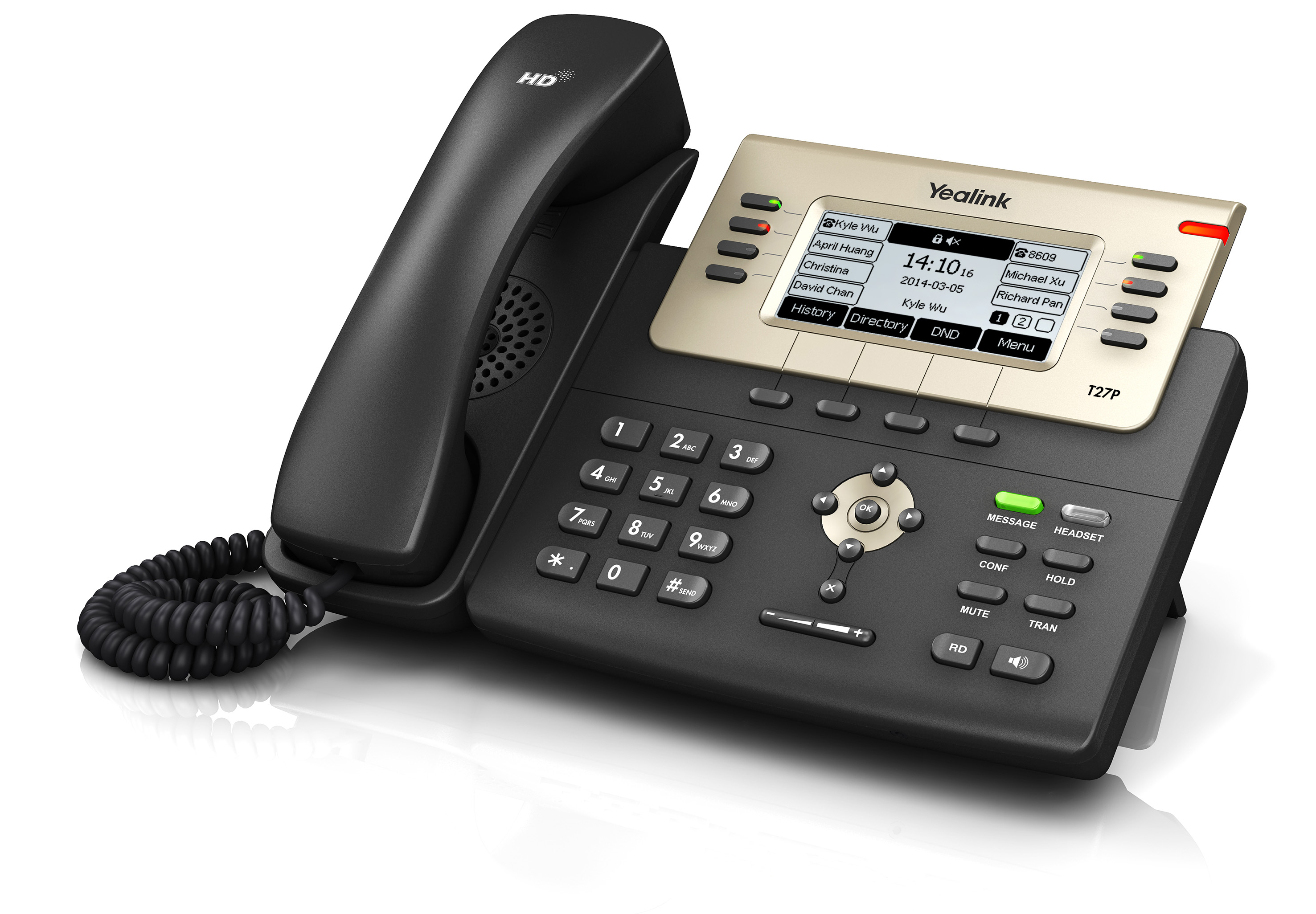 "Yealink SIP-T27P IP tel., PoE, 3,7"" 240x120 LCD, 21 prog.tl."