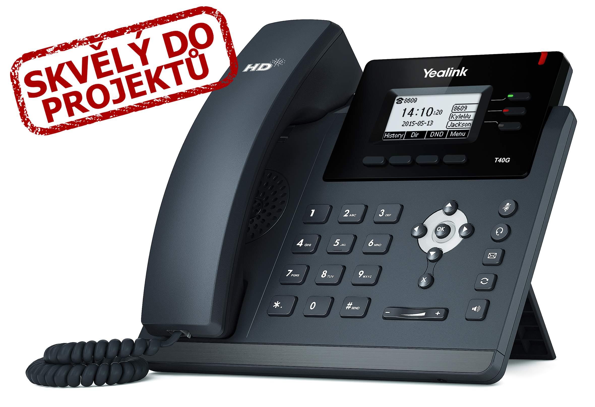 """Yealink SIP-T40G IP tel., PoE, 2,3"""" 132x64 LCD, 3 prog.tl., GigE"""