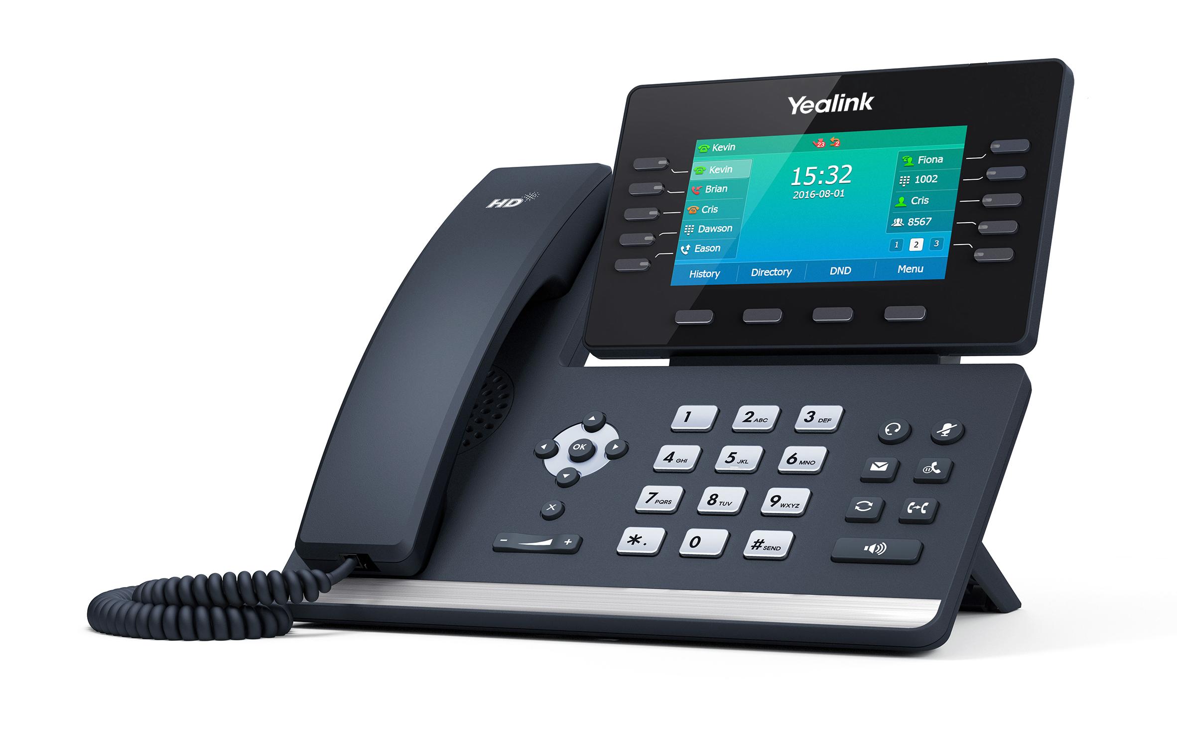 "Yealink SIP-T54S,IP tel., PoE, 4,3"" bar. LCD, 10 prog. tl., GigE"