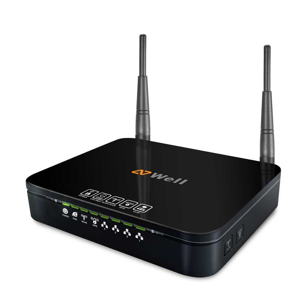 WELL WRC7100N - WiFi n Gigabit Router 300Mb 2,4Ghz, 2x 3dBi fixní