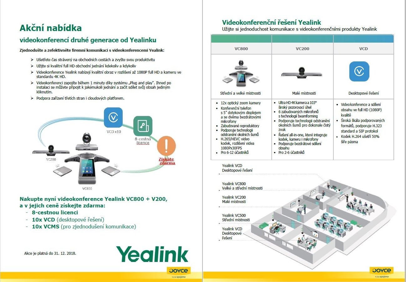 Leták akce Yealink VC800+VC200