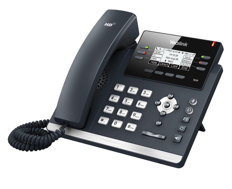 "Yealink SIP-T41P IP tel., PoE, 2,7"" 192x64 LCD, 15 prog.tl."