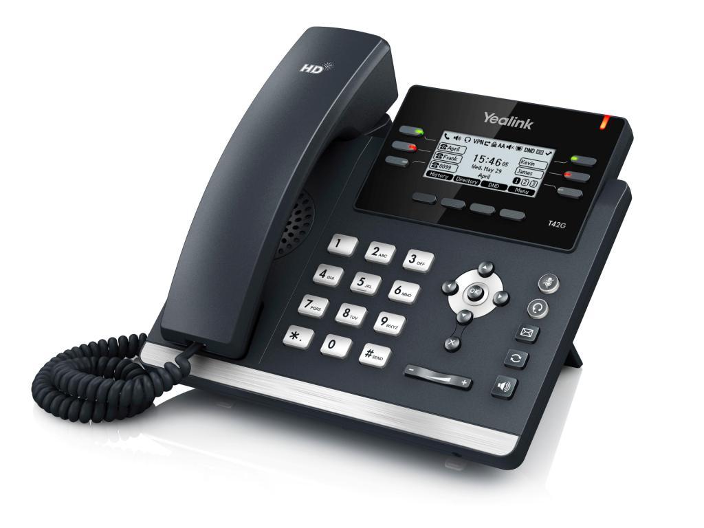 """Yealink SIP-T42G IP tel., PoE, 2,7"""" 192x64 LCD, 15 prog.tl., GigE"""