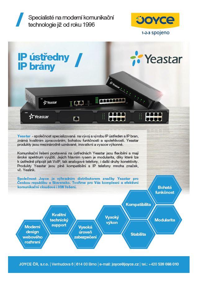 Leták IP ústředny Yeastar
