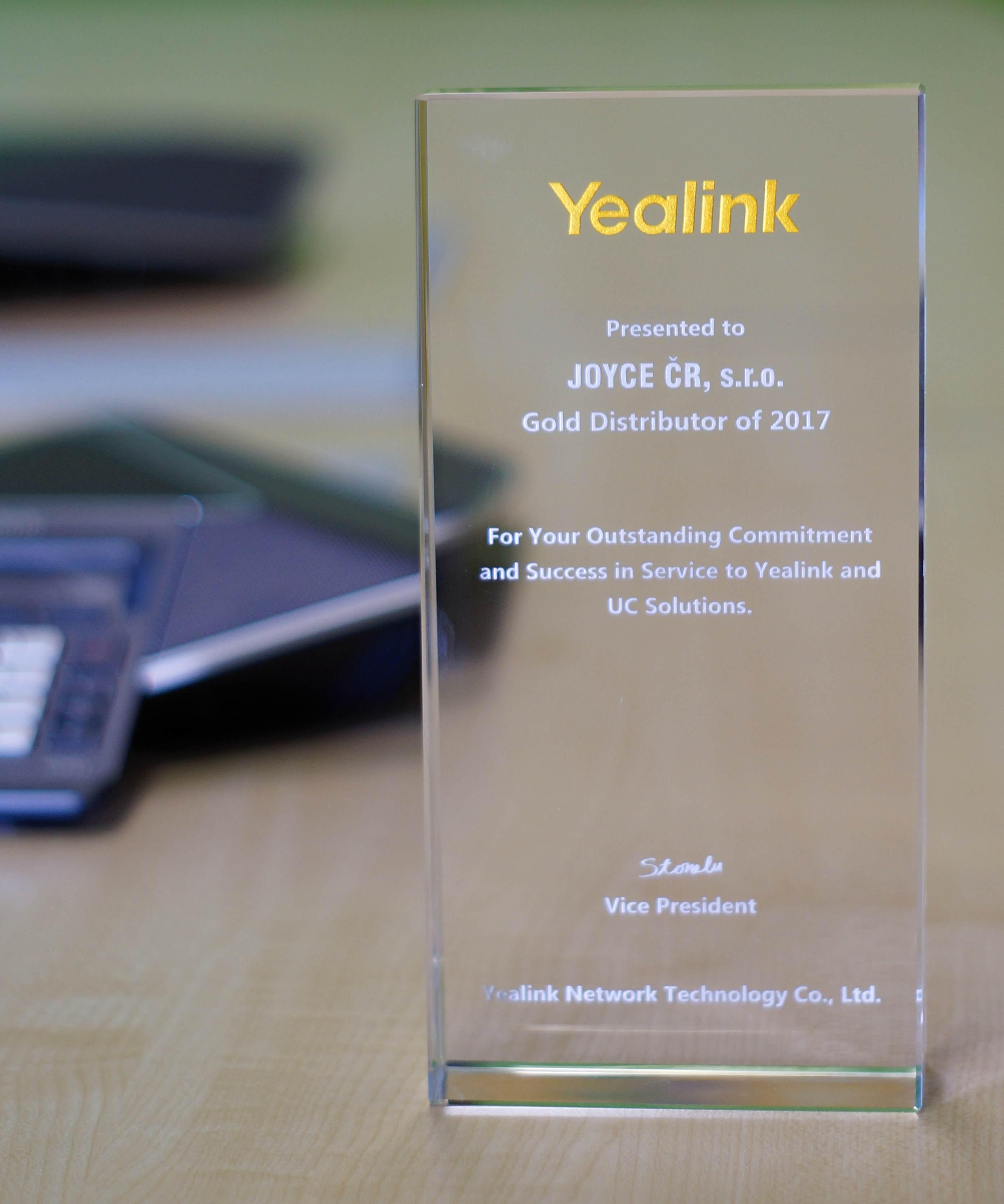 Joyce je Gold distributorem Yealink pro rok 2017
