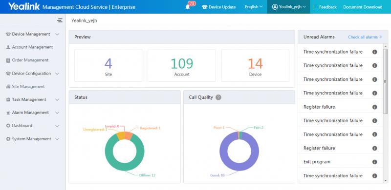 Yealink Device Management platform